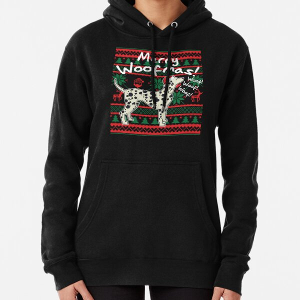Dalmatian Merry Woofmas, Ugly Christmas Sweater Pullover Hoodie