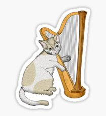 Calico Cat Plays the Harp Sticker