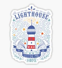 Lighthouse with a hand-lettering quote Sticker