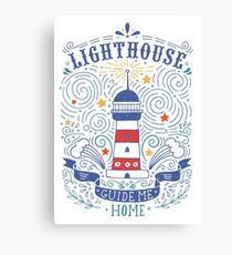 Lighthouse with a hand-lettering quote Canvas Print
