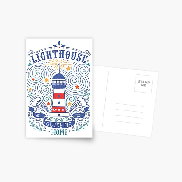 Lighthouse with a hand-lettering quote Postcard