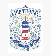Lighthouse with a hand-lettering quote Photographic Print