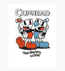 Cuphead & Mugman with logo and slogan Photographic Print