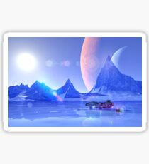 Exploring an Ice Planet Sci-Fi Art Sticker