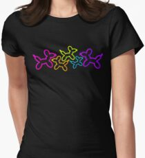 Neon Balloon Dogs in Space Women's Fitted T-Shirt