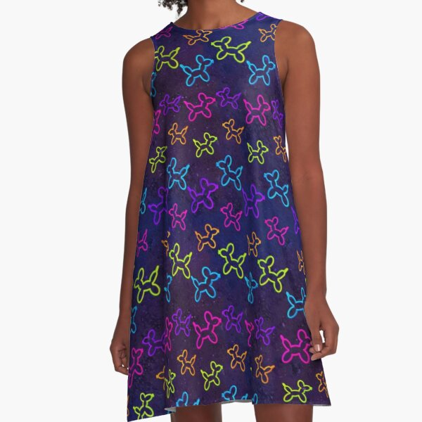 Neon Balloon Dogs in Space A-Line Dress