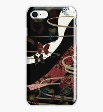 Japanesque flower and butterfly black iPhone Case/Skin
