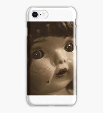 doll, creepy, sepia, broken, scary, spooky, toy, face, antique, dirty, vintage, head, child, retro, baby, weird, damaged, cracked, eye, iPhone Case/Skin