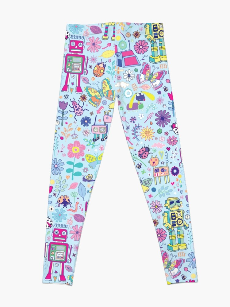 Alternate view of Electric Dreams - fun floral robot pattern by Cecca Designs Leggings