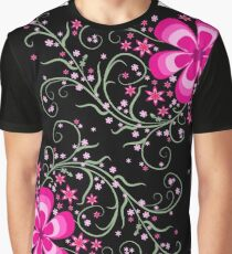 Floral On black Graphic T-Shirt