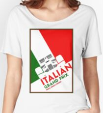 MONZA : Vintage Italian Grand Prix Auto Advertising Print Women's Relaxed Fit T-Shirt