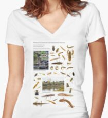 Wetland Ecosystems and Associated Animals Women's Fitted V-Neck T-Shirt