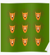 LIONS KIDS GOLD ON GREEN Poster