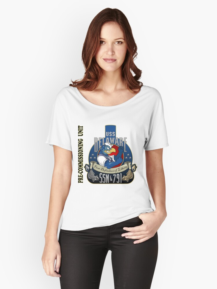PCU Delaware (SSN-791) Crest for Light Colors Women's Relaxed Fit T-Shirt Front
