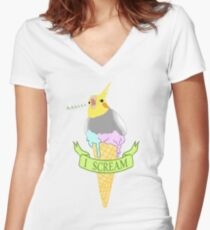 I scream - ice cream cockatiel Women's Fitted V-Neck T-Shirt