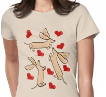 It's raining hearts and hunds Womens Fitted T-Shirt