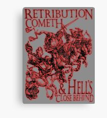 REVENGE, Four Horsemen of the Apocalypse, Durer, Retribution Cometh & Hell's Close behind! Biblical, Bible, Red Shadow on White Canvas Print