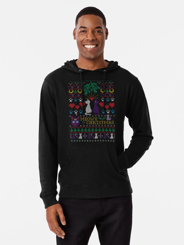 Meowy Christmas Sweater.Meowy Christmas Ugly Christmas Sweater Lightweight Hoodie By Machmigo