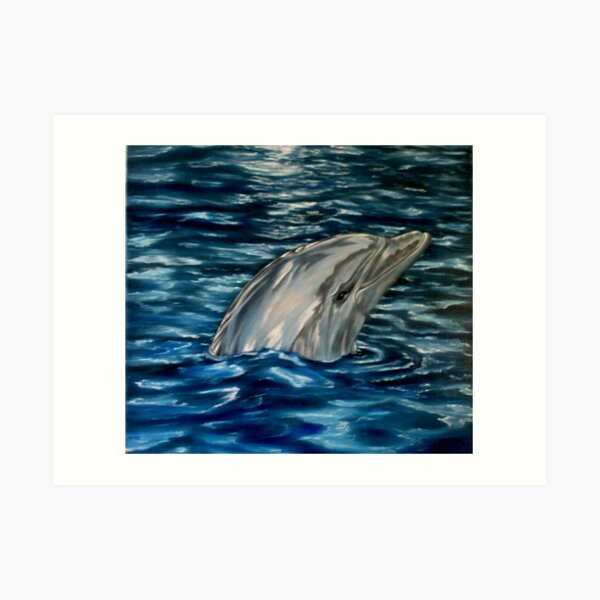 Dolphin Curiosity - Oil Painting Art Print