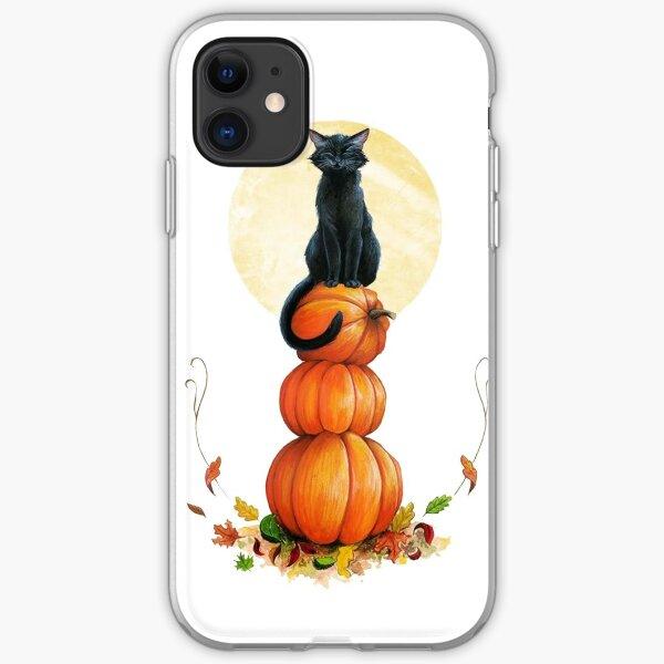 Black Cat on Pumpkins, Autumn Pumpkin Cat Art, Fall Leaves Black Cat  iPhone Soft Case