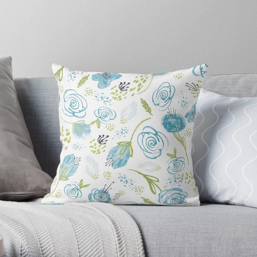 Turquoise Twist Throw Pillow