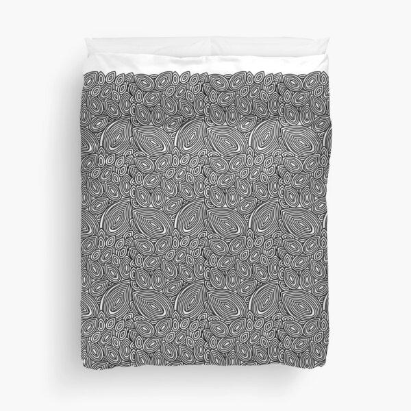 Black&white line art leaves Duvet Cover