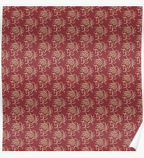 Ethnic Style Floral Mini-print Beige on Maroon Poster