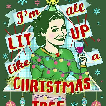 Funny Christmas Retro Woman Drinking Lit Up Humor by emkayhess