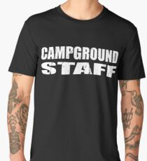 Camp Ground Campground Staff In White Letter T Shirt One 1 Side Only For Camping Camp Camper RV Staff Worker Halloween Costume Joke Funny Gag Gift Men's Premium T-Shirt