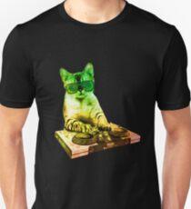 cat Dj console playing music techno electro house T-Shirt