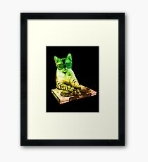 cat Dj console playing music techno electro house Framed Print