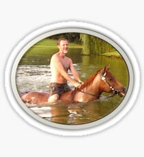 President Falwell riding his horse in the Lake Sticker