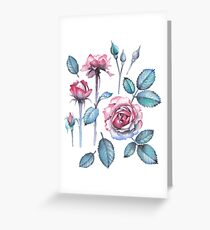 Watercolor rose leaves and flowers Greeting Card