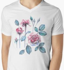 Watercolor rose leaves and flowers T-Shirt