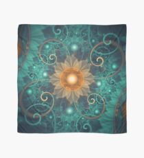 Beautiful Tangerine Orange and Teal Lotus Fractals Scarf
