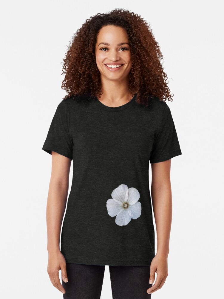 Alternate view of White hibiscus flower Tri-blend T-Shirt