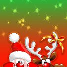 Funny Christmas Santa and Reindeer Cartoon by BluedarkArt