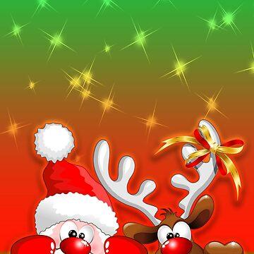 Funny Christmas Santa and Reindeer Cartoon by BluedarkArt