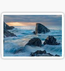 Sunrise landscape with ocean waves and rocks Sticker