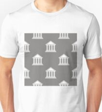 Greek Temple Icon Seamless Pattern on Grey Background. T-Shirt