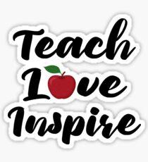 Teach Love Inspire Red Apple Teacher Quote School Teaching Sticker