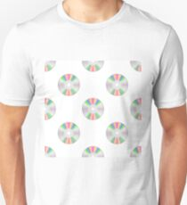 Colorful Compact Disc Seamless Pattern on White Background T-Shirt