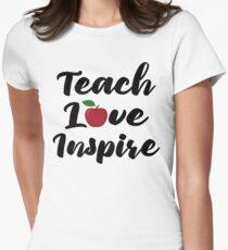 Teach Love Inspire Red Apple Teacher Quote School Teaching T-Shirt