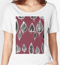 leaves of trees decor decoration red Women's Relaxed Fit T-Shirt