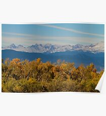 Colorful Trees and Majestic Mountain Peaks Poster