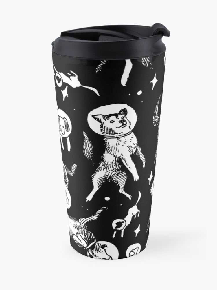 Alternate view of Space dogs (black background) Travel Mug