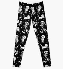 Space dogs (black background) Leggings