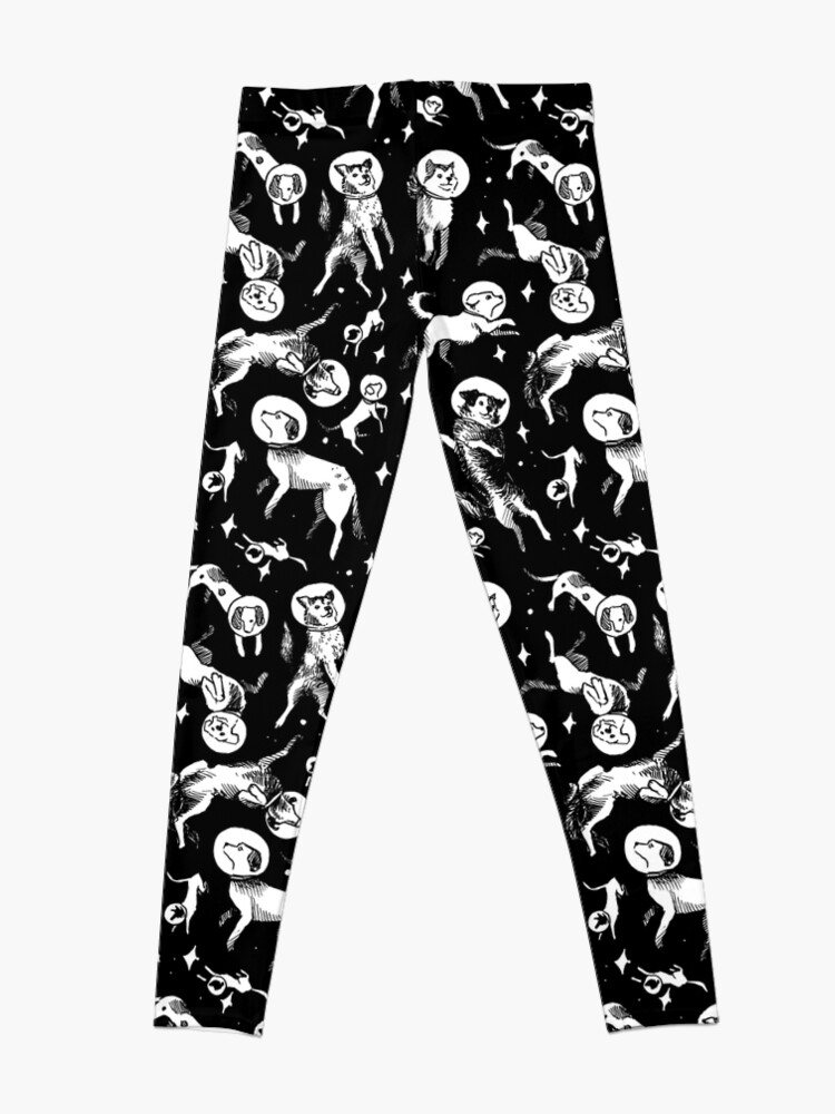 Alternate view of Space dogs (black background) Leggings