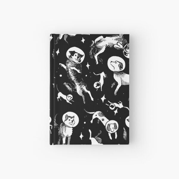 Space dogs (black background) Hardcover Journal
