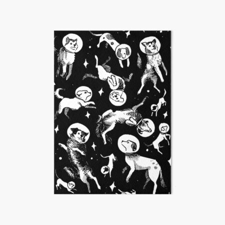 Space dogs (black background) Art Board Print